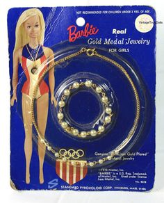Vintage Gold Medal Barbie Doll Girl's Play Jewelry MOC