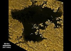"Ligeia Mare, second largest known body of liquid on Titan. (Image is artistically enhanced from NASA's Cassini mission) The lake is filled with liquid hydrocarbons, such as ethane and methane, and is one of the many seas and lakes that bejewel Titan's north polar region. (Photo credit: NASA/JPL-Caltech/ASI/Cornell) Mona Evans, ""Titan - Planet-sized Moon of Saturn"" http://www.bellaonline.com/articles/art182860.asp"