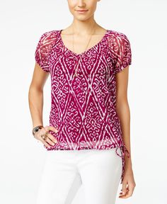 Inc International Concepts Petite Tie-Waist Peasant Top, Only at Macy's