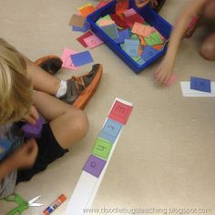 use a cut out letters for students to find and create their names on a sentence strip