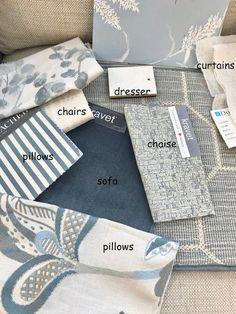 Design-Genuss - Living Room - Home Design Mood Board Interior, Interior Design Boards, Home Design, Design Design, Pattern Design, Design Ideas, Fabric Board, Merian, Fabric Combinations