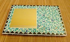 Grand Miroir porte-bijoux ou porte-clés en Mosaïque Turquoise et Noir : Décorations murales par une-embellie