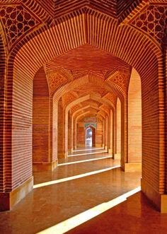Corridors of the Shahjehan Mosque in Thatta, Pakistan. Built 1647.