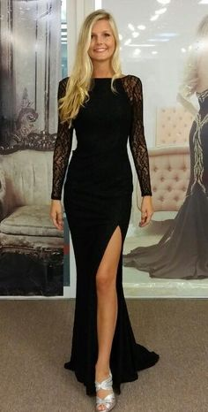 Side Split Sheath Evening Dresses 2016 Long Sleeve Sweep Train Lace Sheer Scoop Collar Elegant Cheap Black Vestidos Party Formal Prom Dress
