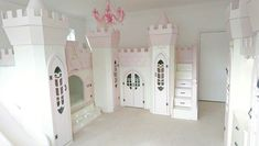 Princess Palace Castle with stairs, slide and walk in wardrobe. Design by Dreamcraft Furniture