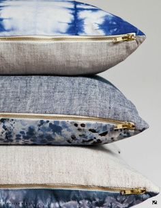 Sofa cushions - brass zipper detail - Denim in Decor - The Perfect Fit! - The Family Love Tree