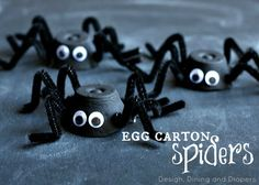 Spiders made from egg cartons! What a great Halloween craft to do with kids. via @tarynatddd