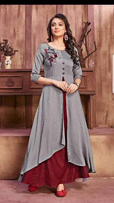 Pure glory designer fancy stylish fabulous rayon with different pattern long gown style kurtis at wholesale price Salwar Designs, Long Kurta Designs, Kurti Designs Party Wear, Kurta Designs Women, Latest Kurti Designs, Designs For Dresses, Dress Neck Designs, Blouse Designs, Frock Fashion