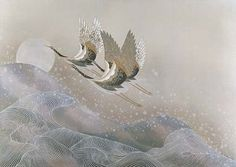 Keiichi Nishimura Cranes Over Waves