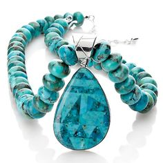 Jay King Turquoise Inlay Pendant with Beaded Necklace