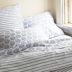 OPTION: (Potential bedding) Percy Stripe Duvet Cover & Sham – Cobalt   Serena & Lily