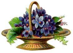 Vintage Graphic - Basket of Violets - The Graphics Fairy