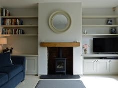 New Photographs Brick Fireplace before and after Popular Bespoke cabinetry painted Little Greene Slaked Lime Mid Living Room Shelves, Cosy Living Room, Living Room Diy, Wood Furniture Living Room, Living Room Designs, Log Burner Living Room, New Homes, House, Front Rooms