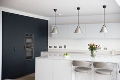 Bespoke Kitchen designed with contrasting colours, to define zones in open plan living area. Contact Noel Dempsey today for your new kitchen! Open Plan Kitchen, New Kitchen, Bespoke Kitchens, Open Plan Living, Interior Design Kitchen, Living Area, Extension, How To Plan, Table
