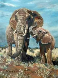 Elephant Love, Elephant Art, Elephant Tattoos, African Elephant, African Animals, African Paintings, Animal Paintings, Animal Drawings, Elephant Paintings