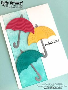 Stampin' Up! My Planner Colibri, Weather Cards, Umbrella Cards, Wedding Shower Cards, Cool Cards, Easy Cards, Wedding Anniversary Cards, Kylie, Get Well Cards