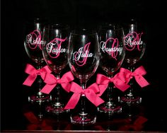 i can do these! Personalized Bride and Bridesmaid Wine Glasses - Cute Wedding Gift! Gifts For Wedding Party, Party Gifts, Wedding Favors, Our Wedding, Dream Wedding, Wedding Decorations, Wedding Venues, Wedding Invitation, Wedding Stuff
