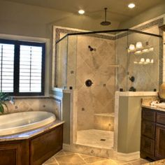master bath - corner tub and corner shower Dream Bathrooms, Beautiful Bathrooms, Luxury Bathrooms, Chic Bathrooms, Master Bath Remodel, Remodel Bathroom, Shower Remodel, Bathroom Makeovers, Traditional Bathroom