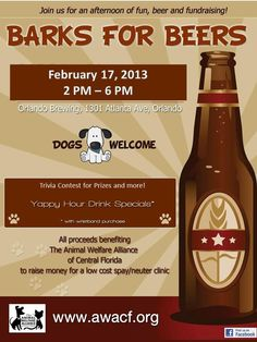 Barks for Beers is happening 02/17.  For more information go to http://www.OrlandoCanineConnections.com
