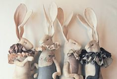 Hares made from recycled textiles by Mr Finch