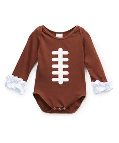 Look at this The Princess Pea Brown Football Stitch Bodysuit - Infant on #zulily today!