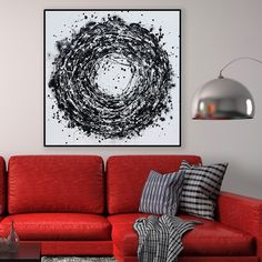 Dream Catcher-Abstract Painting, Large Handmade Abstract Painting On Canvas, Contemporary Wall Art Black And White Circle