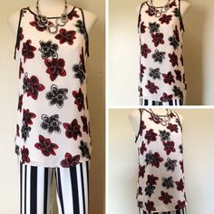 You can never go wrong with the classic red, black, and white color pallette. This gorgeous rose-print tank is sure to be a timeless addition to your wardrobe! - Philosophy - Floral print chiffon tank - #Casanovasdownfall #Spring #Fashion #Style #Timeless