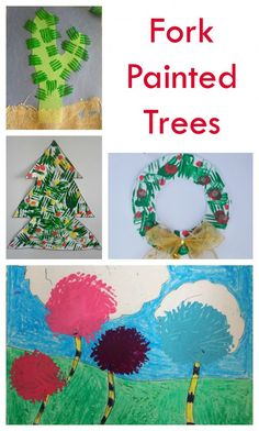Fork Painted Trees - great kids art technique