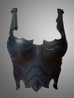 Warrior Lady's Half Corset - Dark Chest&Back Armor - Female Leather Cuirass