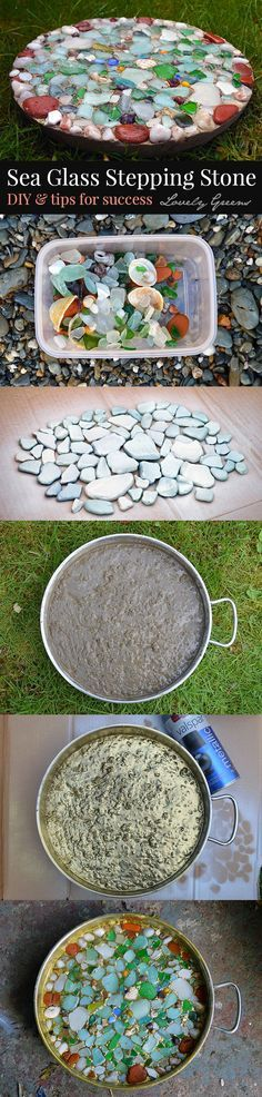 Create a stepping stone using beach glass that still looks wet! What a great way to decorate the garden and to remember that special day at the beach.