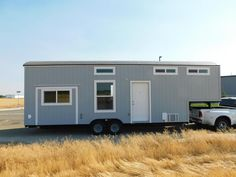 Built by Tiny Idahomes the Sawtooth Toy Hauler is a gooseneck tiny house wit. - Built by Tiny Idahomes the Sawtooth Toy Hauler is a gooseneck tiny house wit…, - Tiny House Cabin, Tiny House Design, Tiny House On Wheels, Small Floor Plans, House Floor Plans, Natural Flooring, Tiny Living, Living Room, Wheels For Sale