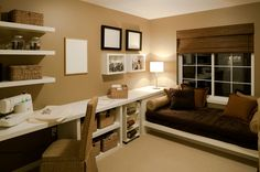 Guest bedroom space doubles as home office - Bedroom Home Office Designs to Love