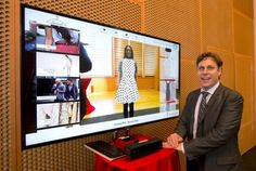 """Peter J. Johnson, Sales Director at FaceCake Marketing Technologies,  demonstrates FaceCake's """"Swivel"""", a virtual dressing room which permits users to select garments and accessories from an onscreen menu, and see what they would look like if they were wearing the virtual clothes.  KEITH BEATY/Toronto Star"""