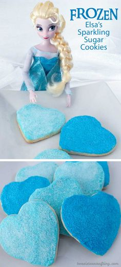 Elsa's Sparkling Sugar Cookies are sparkly enough for an Ice Queen and perfect for a Frozen Birthday Party.  Made with yummy sugar cookies, buttercream frosting and homemade sparkling sugar, these delicious cookies will be a hit on your Frozen Dessert Table. Follow us for more great Frozen Party Ideas.