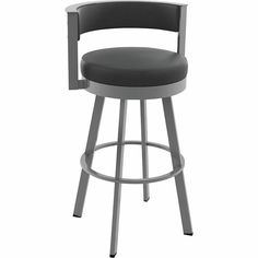 Tie together your bar or kitchen design with Amisco Browser swivel metal counter stools. These geometric swivel bar stools create a contemporary look and add functionality to a counter top or Metal Counter Stools, Swivel Bar Stools, Counter Top, Swivel Chair, Bar Furniture, Black Faux Leather, Foot Rest, The Help, Home Decor