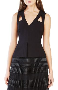 Love this look! BCBGMAXAZRIA Hailee Cutout Peplum Top available at #Nordstrom
