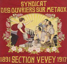 Dès le milieu du XIXe siècle, les organisations ouvrières, puis les syndicats, se dotent de drapeaux, signes de ralliement et élément d'affirmation qui mettent en évidence leurs outils et leurs emblèmes.  Réunies par le syndicat Unia, une collection de drapeaux unique en son genre, rend compte de plus d'un siècle de lutte ouvrière. Remis aux Archives cantonales vaudoises par le syndicat, puis déposé au Musée cantonal d'archéologie et d'histoire, cet ensemble exceptionnel est à l'origine… Labor Union, Poster, Collection, The Syndicate, 19th Century, Flag, Middle, Radiation Exposure, Tools
