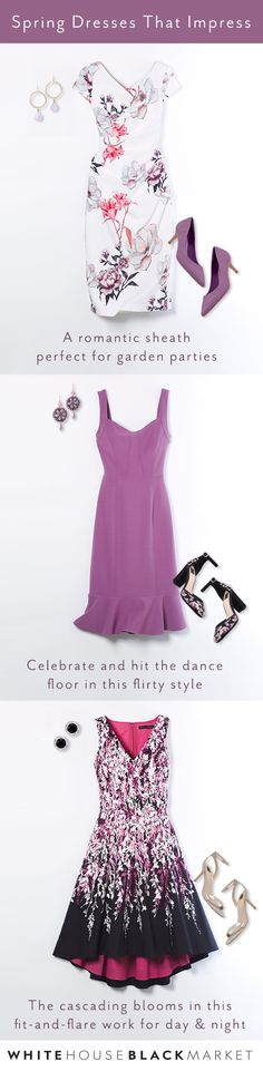 This spring, we're definitely dropping hints of purple reign. Sheaths, tulip-hem dresses and fit-and-flares decorated in florals that make it clear spring is here. These dresses are ready for Easter Sunday, graduations, showers and every joyous event that pops up for spring. | White House Black Market