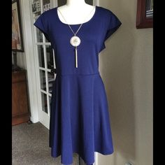 PINC Navy Blue Dress, New with Tassel Necklace See pics, new w tags.  Polyester/spandex, machine washable Pinc Dresses
