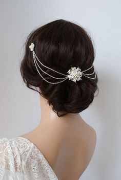 Wedding Headpiece with pearls -Silver Headchain Bridal Hair accessory - 1920s…