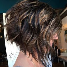 Antique gold balayage on deep brown hair – latest inverted bob haircuts Inverted Bob Hairstyles, Bob Hairstyles For Fine Hair, Short Bob Haircuts, Hairstyles Haircuts, Cool Hairstyles, Layered Hairstyles, Wedding Hairstyles, Celebrity Hairstyles, Curly Inverted Bob