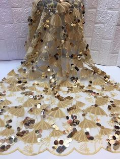 Madison Latest Gold Velvet Lace Fabric High Quality French Tulle Mesh Lace Luxury African Lace Fabric for Wedding Party Dress Tulle Lace, Lace Fabric, French Wedding, African Lace, Lace Weddings, Wedding Party Dresses, Blouse Designs, Gray Color, Sequins