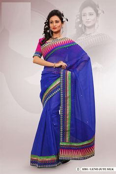 Blue Polyester Embroidered Saree With Blouse