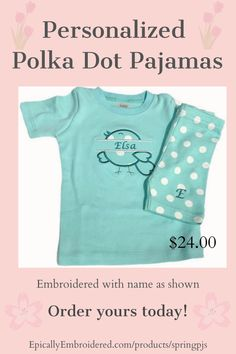Aqua Polka Dot Pajamas! These unisex pajamas featuring short sleeve tshirt and shorts are perfect for Spring and Easter! Personalized with embroidered first name and first initial on shorts as shown with the bird or just a name/ 3 letter embroidery without the bird. #personalizedpajamas #polkadotpajamas #polkadotpajamaset #personalizedpjs #polkadotpjs #springpajamas #personalizedpajamaset