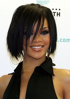 Rihanna Short Layered Bob With Side Bangs - Rihanna's Short Haircuts: Best Styles Over the Years