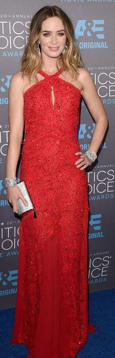 Who made Emily Blunt's red gown, jewelry, and silver clutch handbag that she wore in Los Angeles on January 15, 2015?