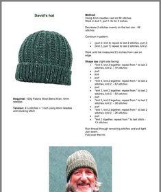Beanie Knitting Patterns Free, Knit Beanie Pattern, Knitting Paterns, Loom Knitting, Knitting Stitches, Free Knitting, Crochet Patterns, Hat Patterns, Knit Hat For Men