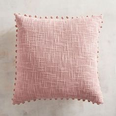 Basketweave Pompoms Blush Pillow Surrounded by poms, our pink pillow adds texture and a happy accent wherever it goes. Blush Pillows, Pink Throw Pillows, Cute Pillows, Accent Pillows, Bed Pillows, Blush Throw Pillow, Pillow Talk, Accent Chairs, Cushions