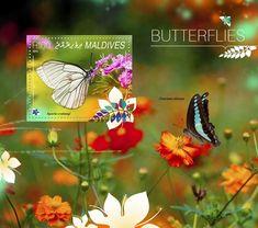 Post stamp Maldives MLD 14808 bButterflies (Aporia crataegi)