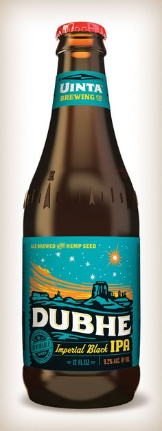 Dubhe Imperial Black IPA label and bottle design for Uinta Brewing Company, Salt Lake City, Utah